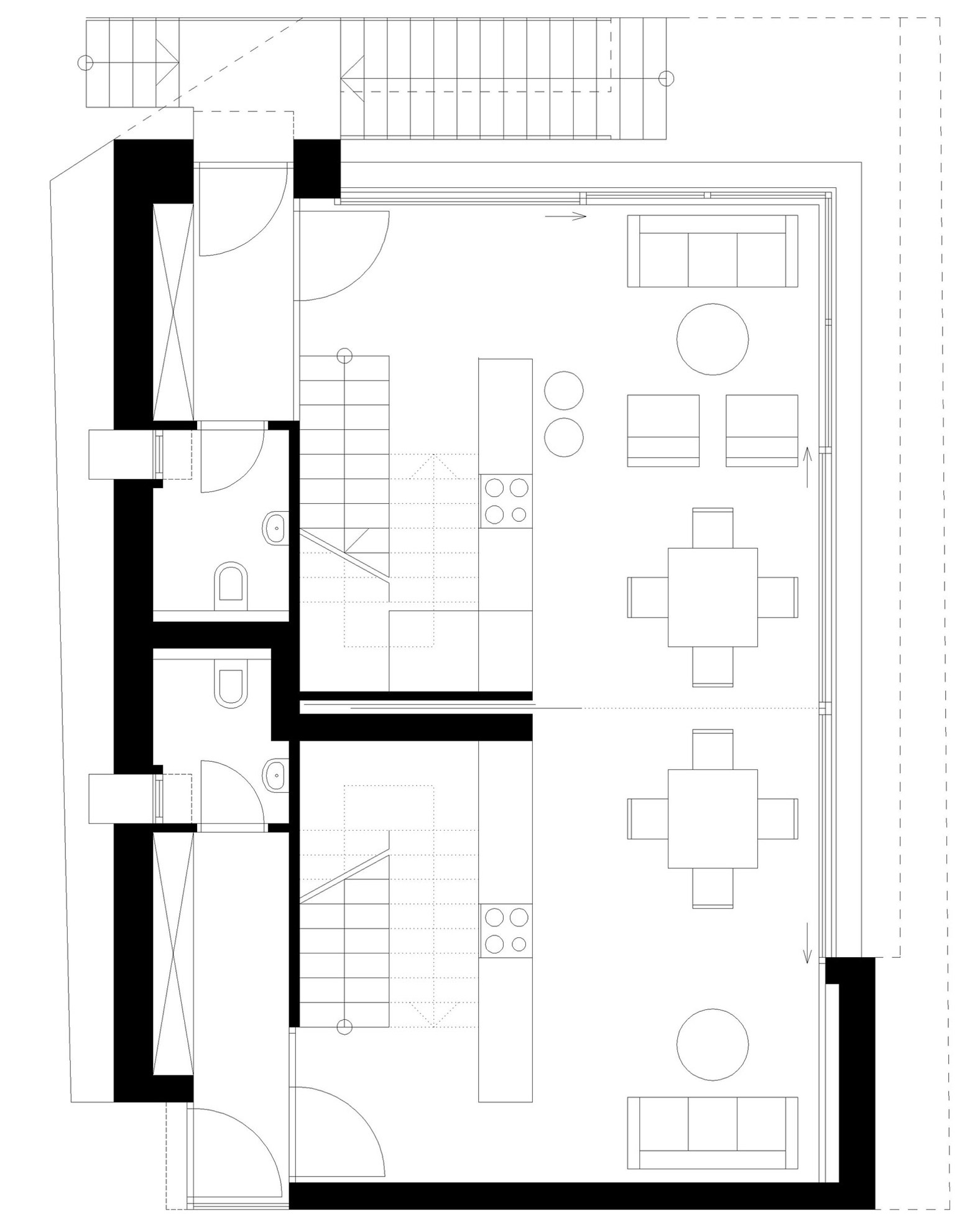 First Floor Plan, Apartment House in Ybbsitz, Austria