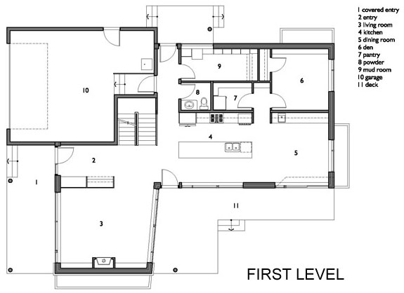 First Floor Plan, Contemporary Home in Edmonton, Canada