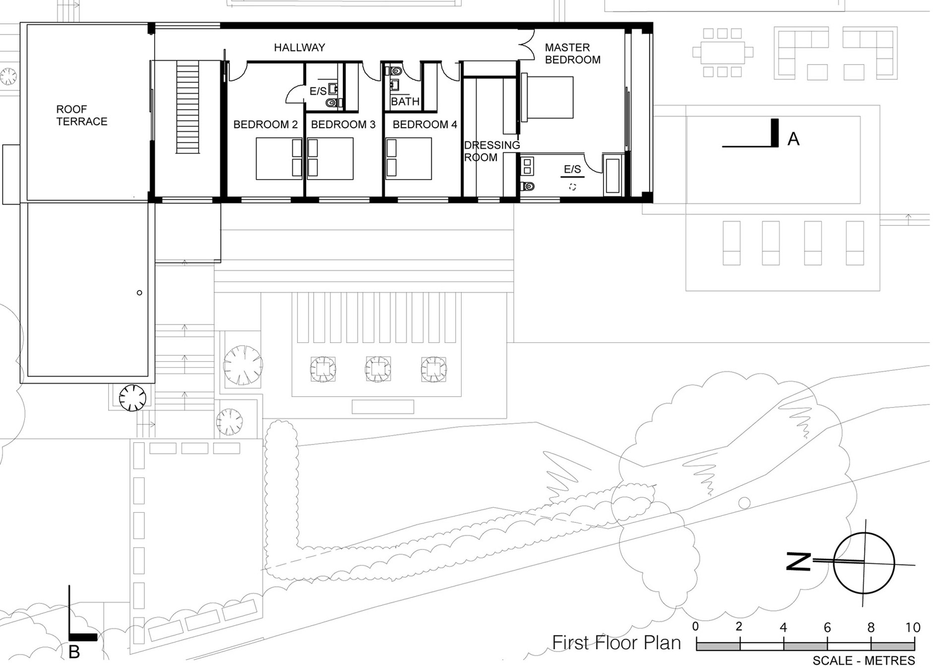First Ground Floor Plan, Eco-Friendly Modern Home in Tandridge, England
