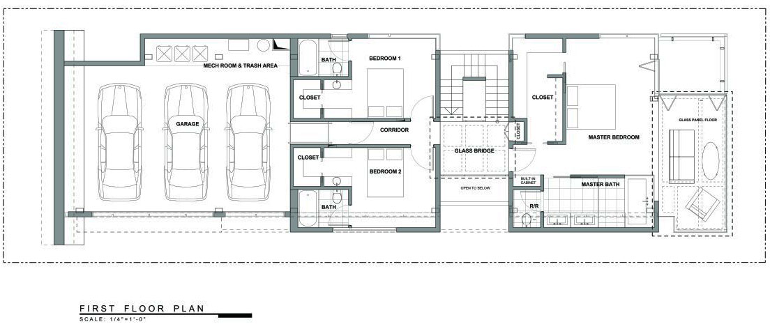 First Floor Plan, Exceptional Glass & Wood Home in Los Angeles, California
