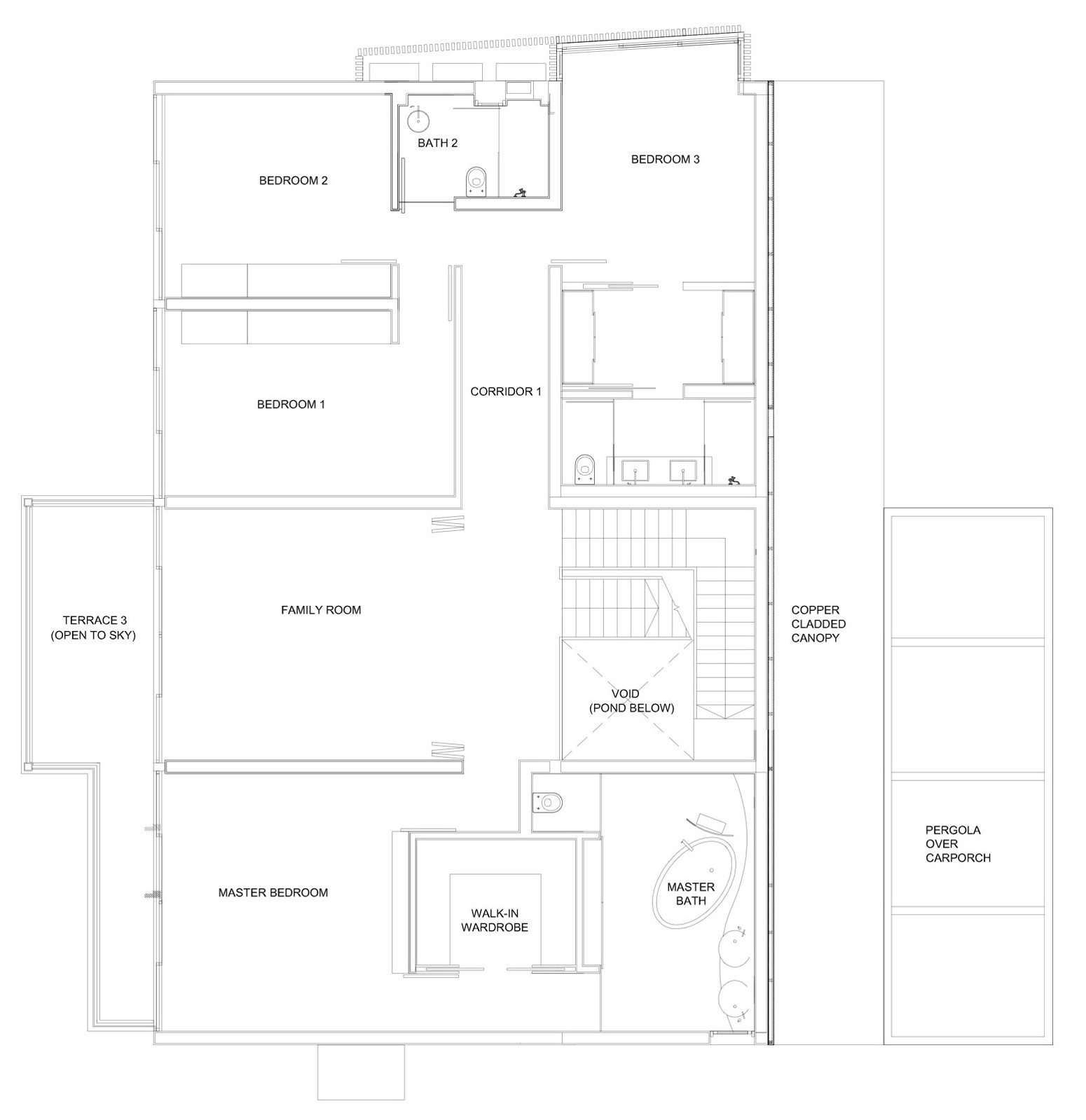 First Floor Plan, Minimalist Contemporary Home in Singapore
