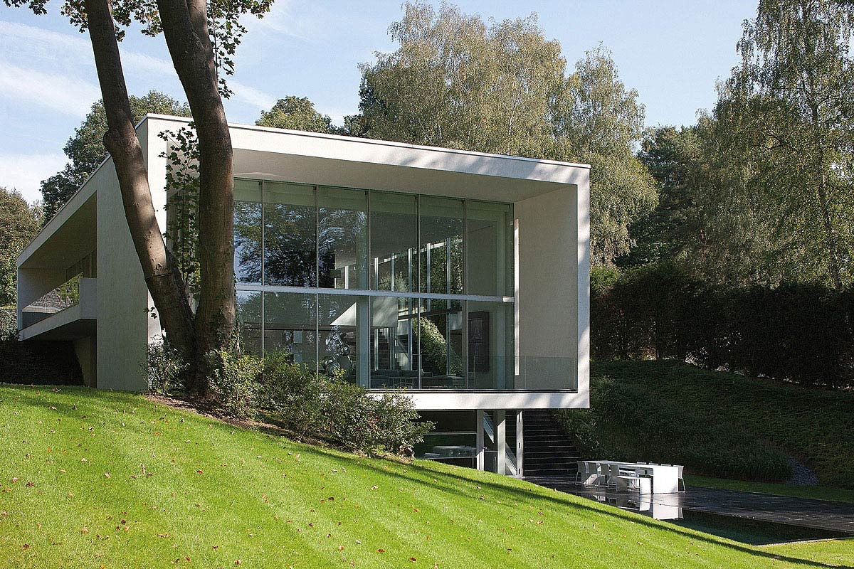 Garden, Pool, Terrace, Sophisticated Glass Home in Belgium