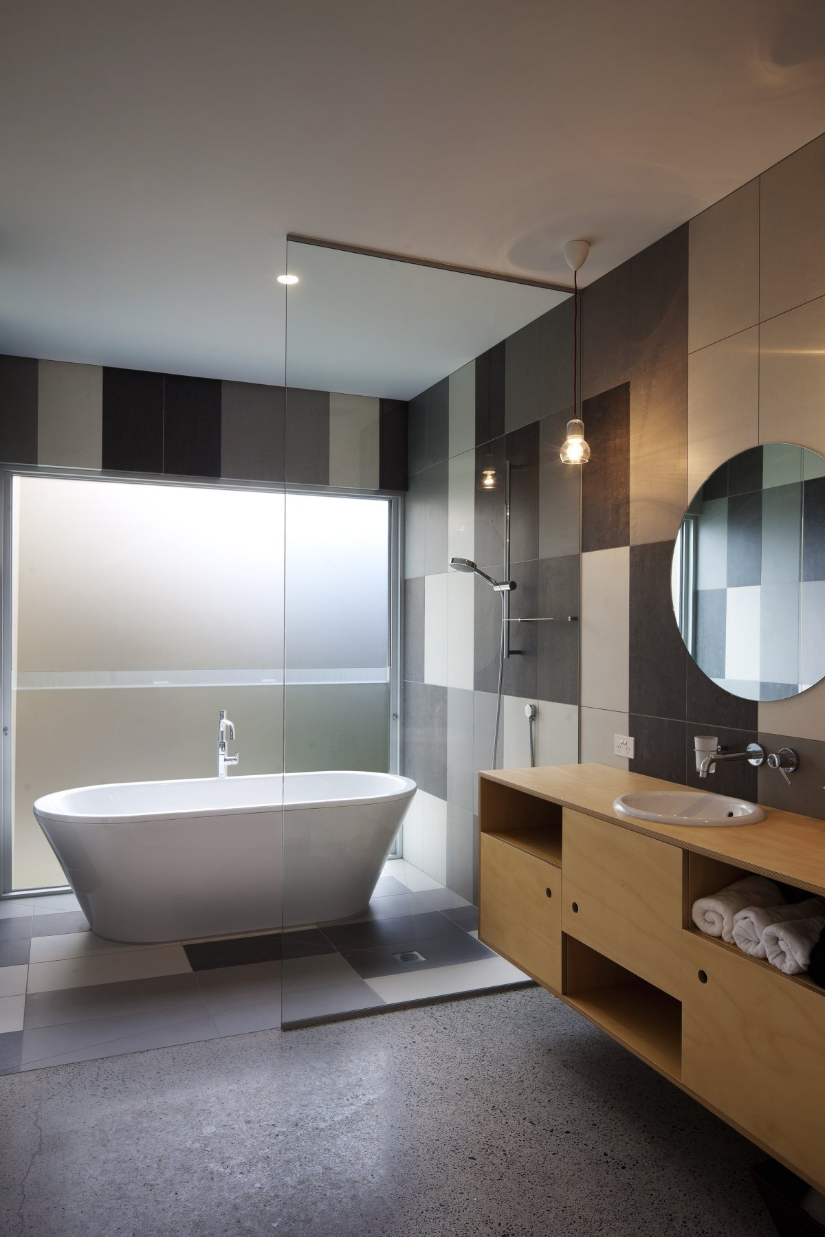 Glass Screen Bathroom 1950 60s Inspired Home In Auckland New Zealand