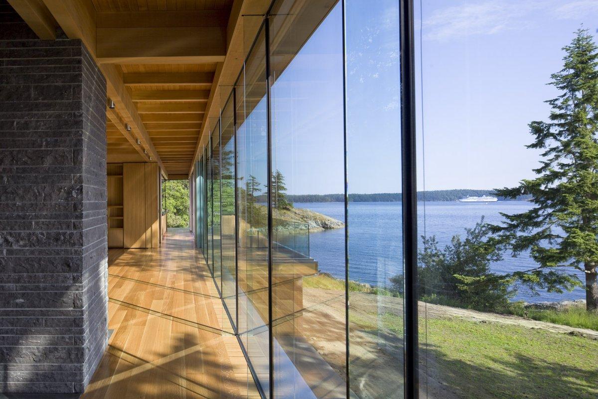 Glass Walls, Wooden Flooring, Oceanfront Home in British Columbia, Canada