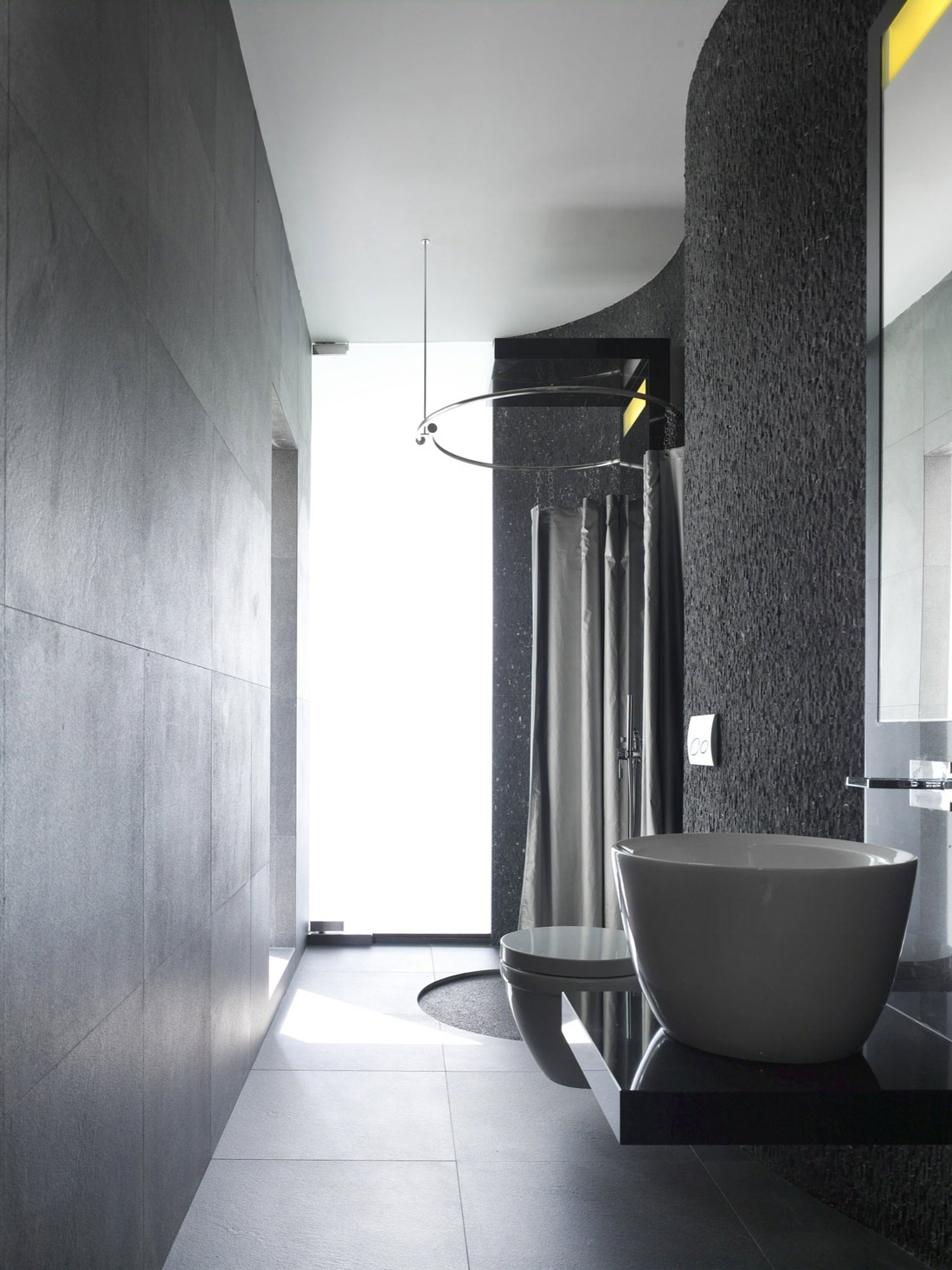 Grey Bathroom, Minimalist Contemporary Home in Singapore