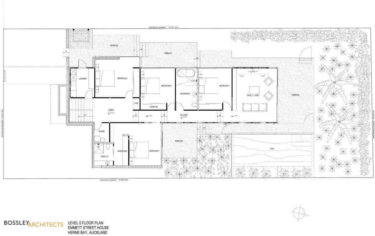Ground Floor Plan, Bathroom, 1950-60s Inspired Home in Auckland, New Zealand