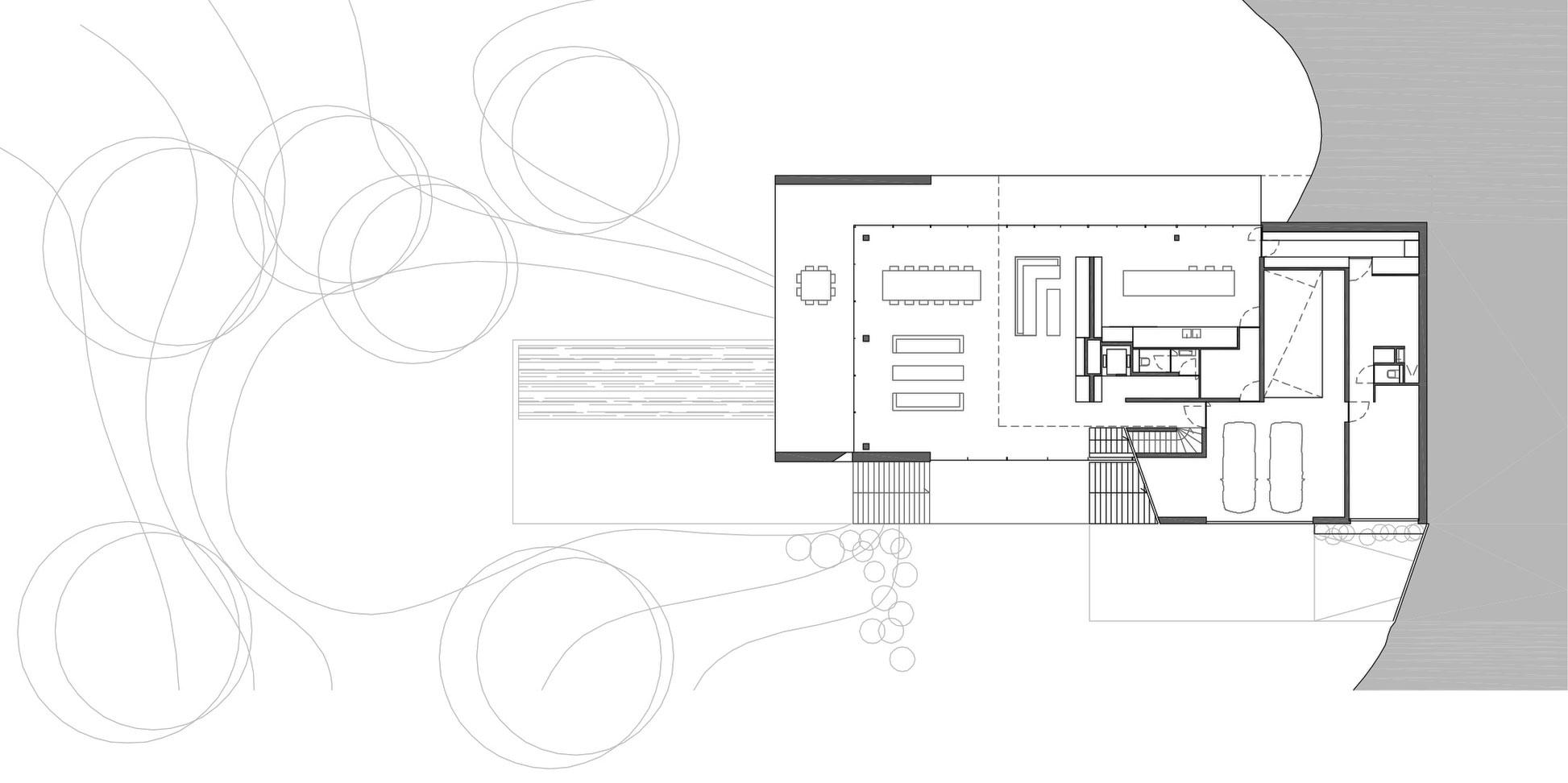 Ground Floor Plan, Sophisticated Glass Home in Belgium