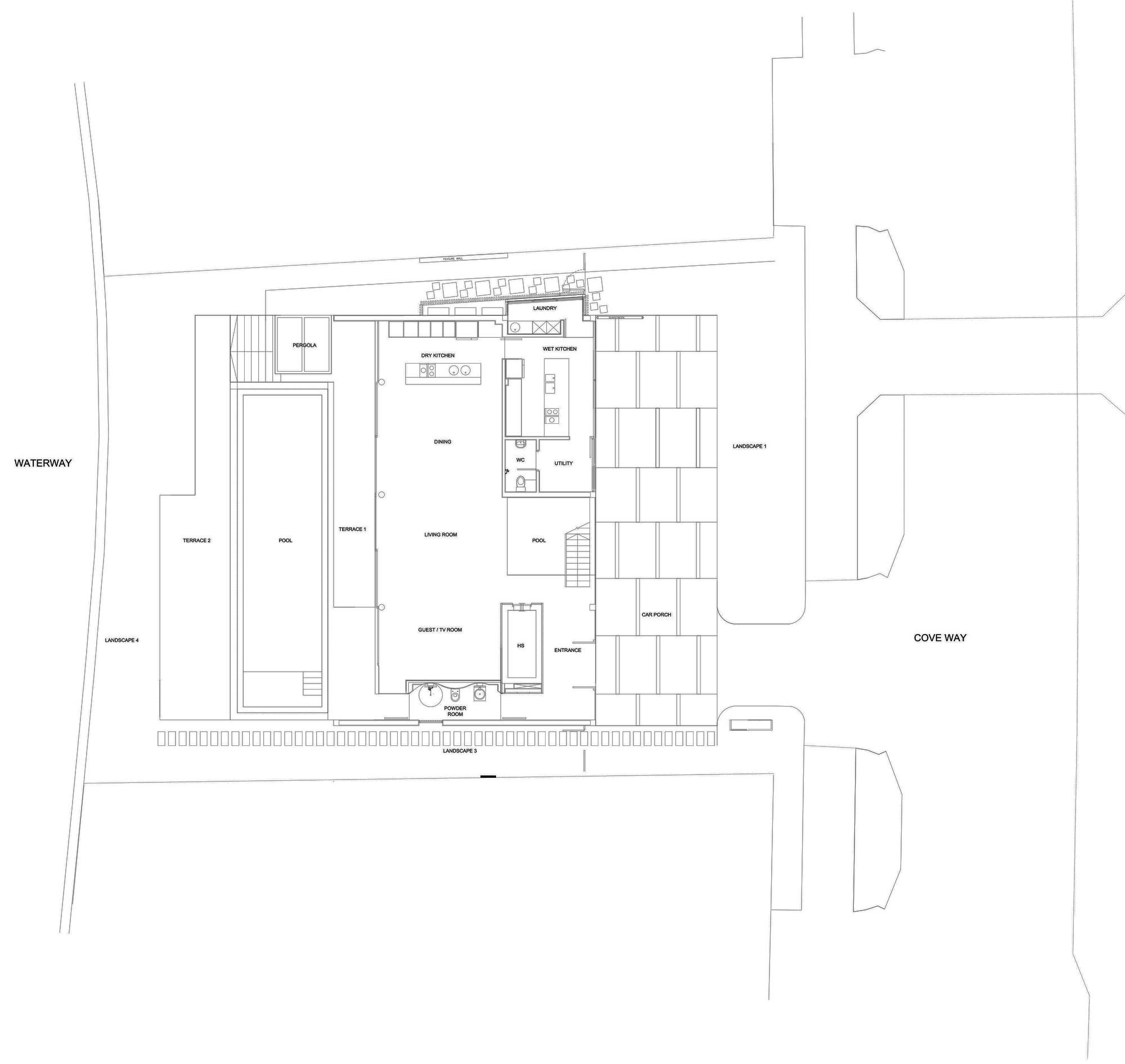 Ground Floor Plan, Minimalist Contemporary Home in Singapore