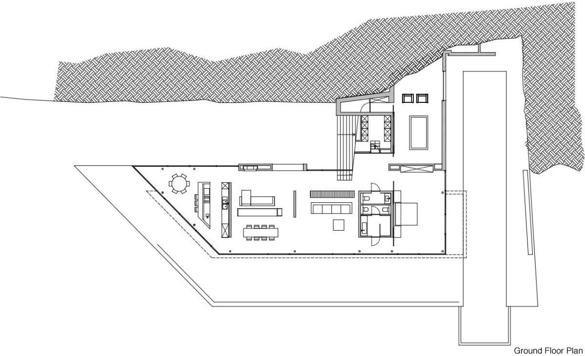 Ground Floor Plan, Stunning Clifftop Home in Ibiza, Spain
