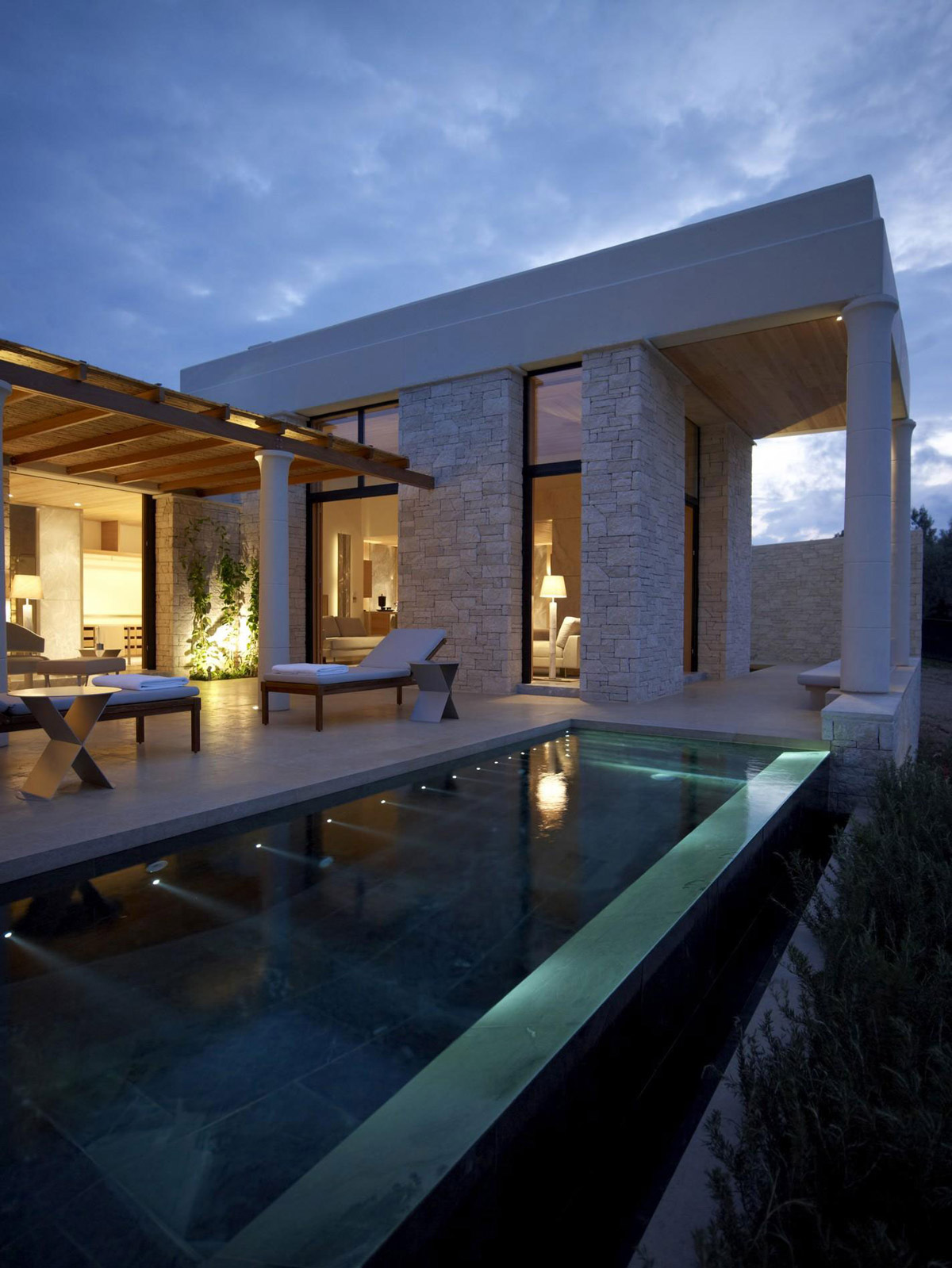 Infinity Pool, Terrace, Outdoor Furniture, Elegant Villas in Kranidi, Greece