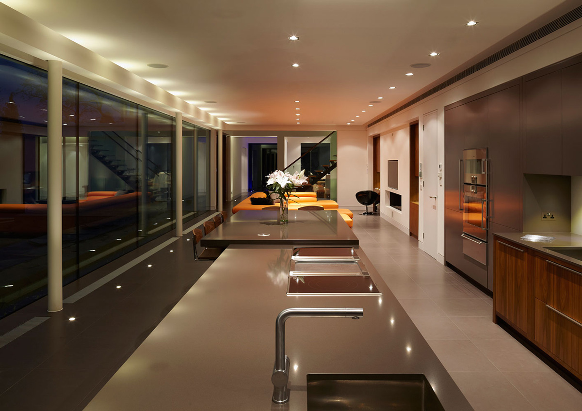 Kitchen, Dining, Living Space, Eco-Friendly Modern Home in Tandridge, England