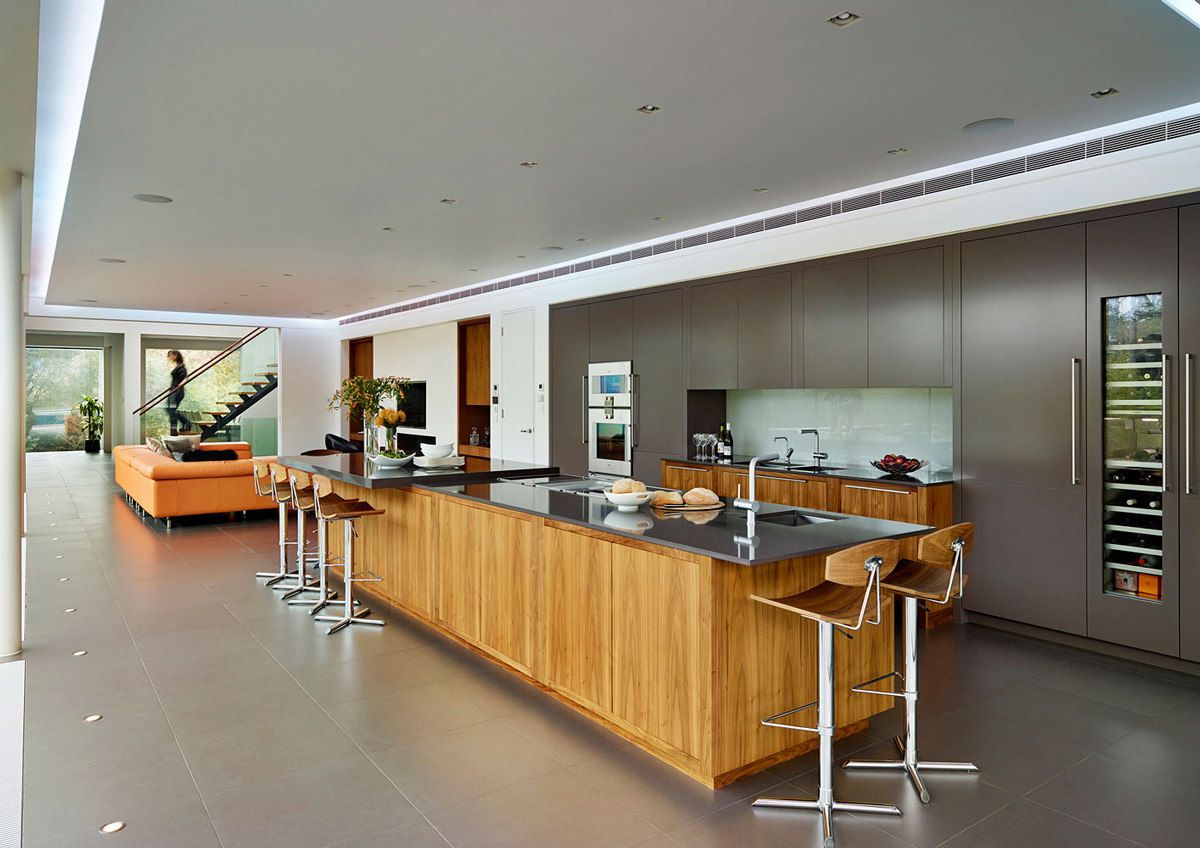 Kitchen Island, Eco-Friendly Modern Home in Tandridge, England