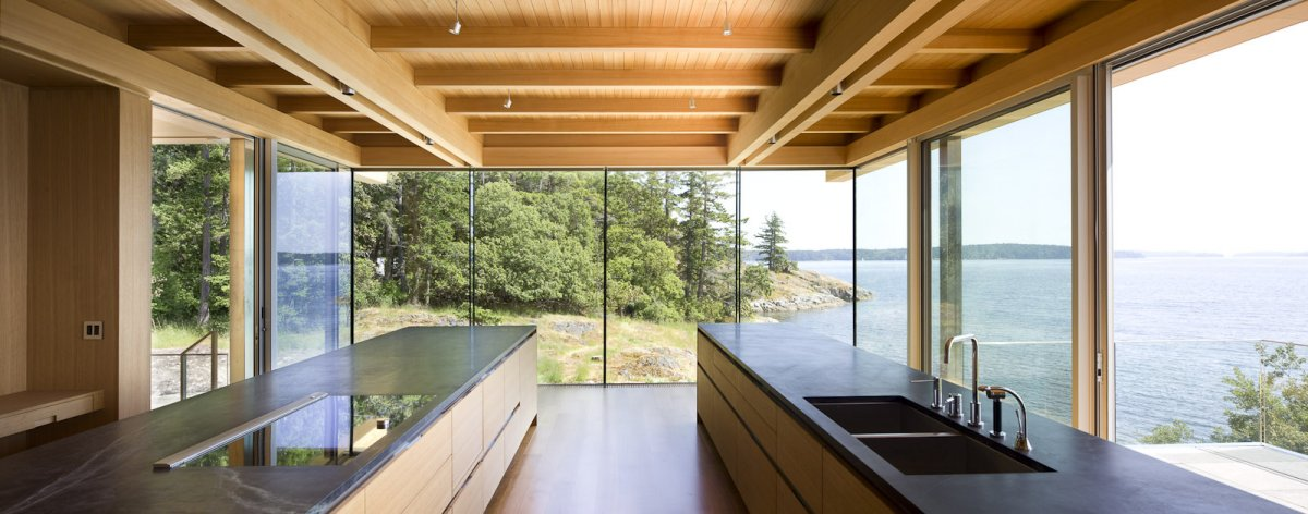 Kitchen Island, Glass Walls, Oceanfront Home in British Columbia, Canada