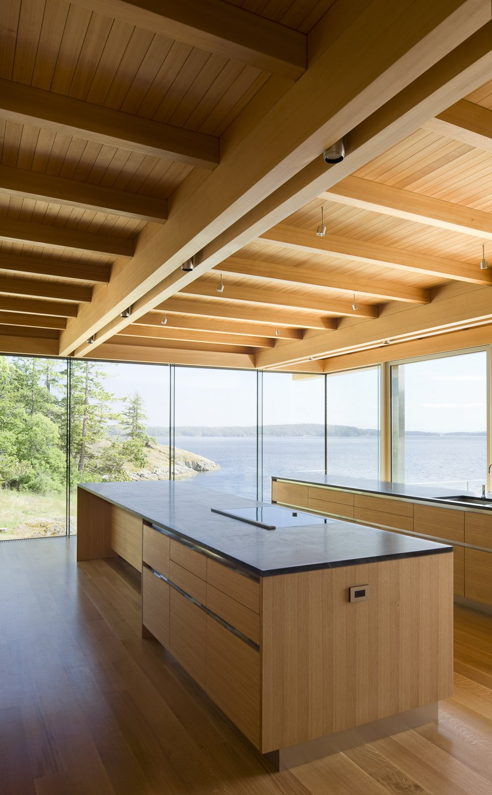 Kitchen Island, Ocean Views, Oceanfront Home in British Columbia, Canada