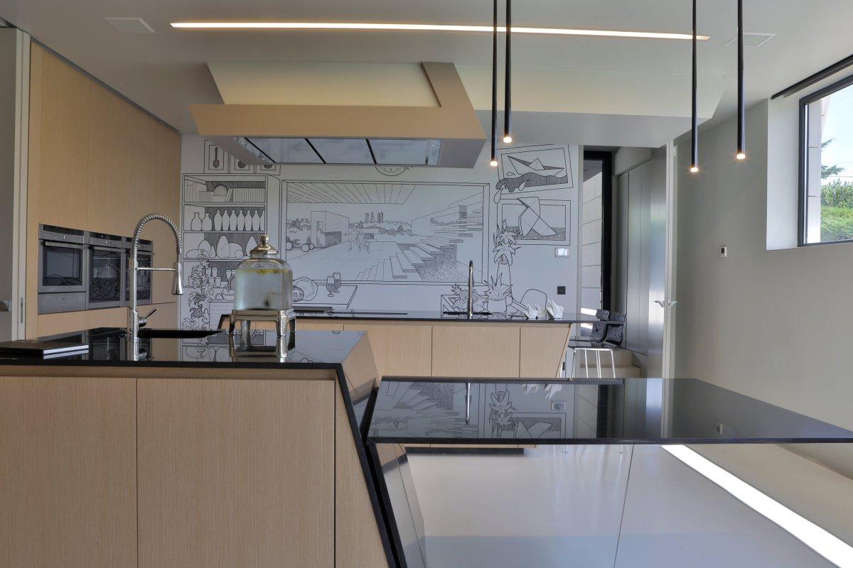 Kitchen, Wall Art, Futuristic Home in Madrid, Spain