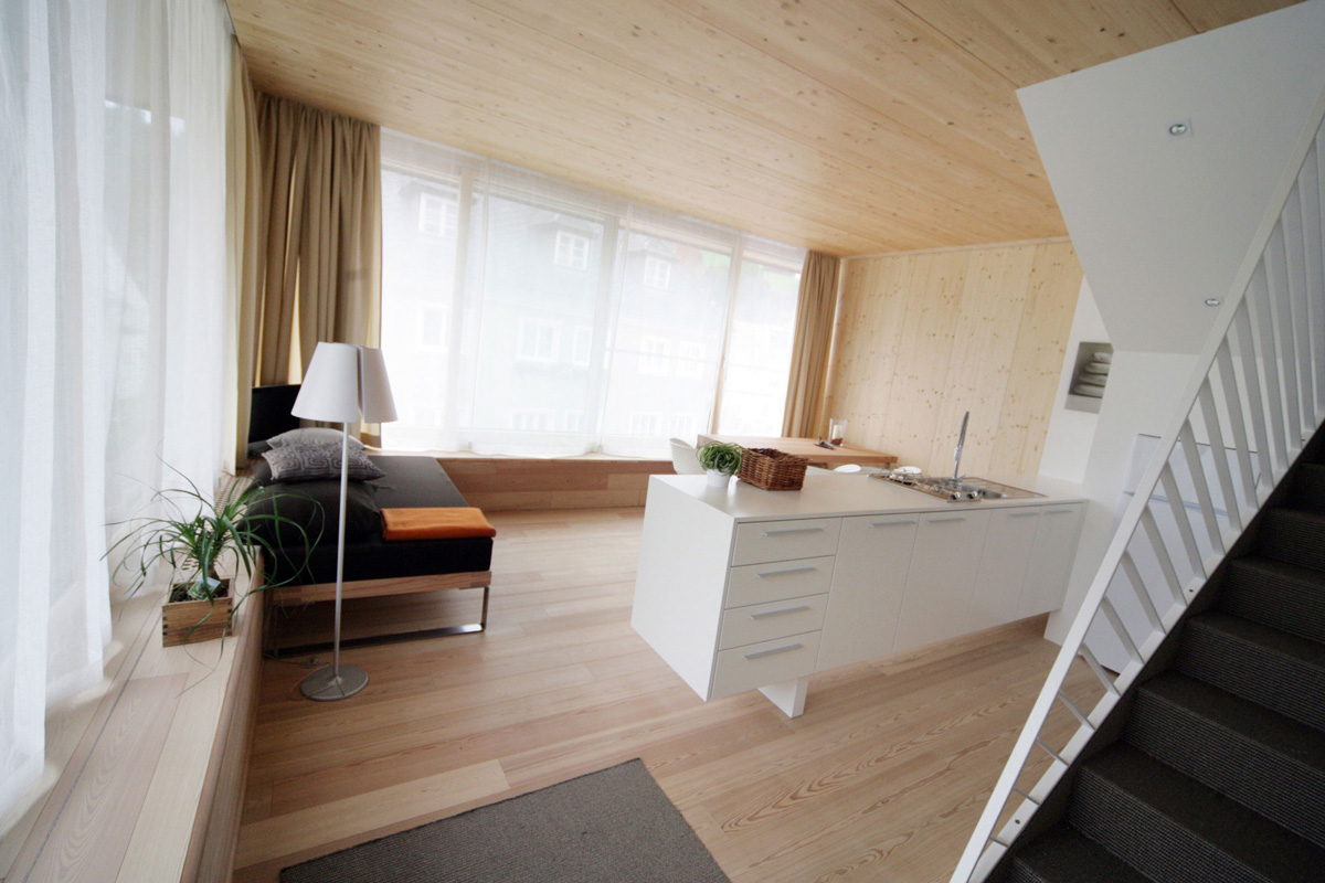 Living Room, Kitchen, Stairs, Apartment House in Ybbsitz, Austria