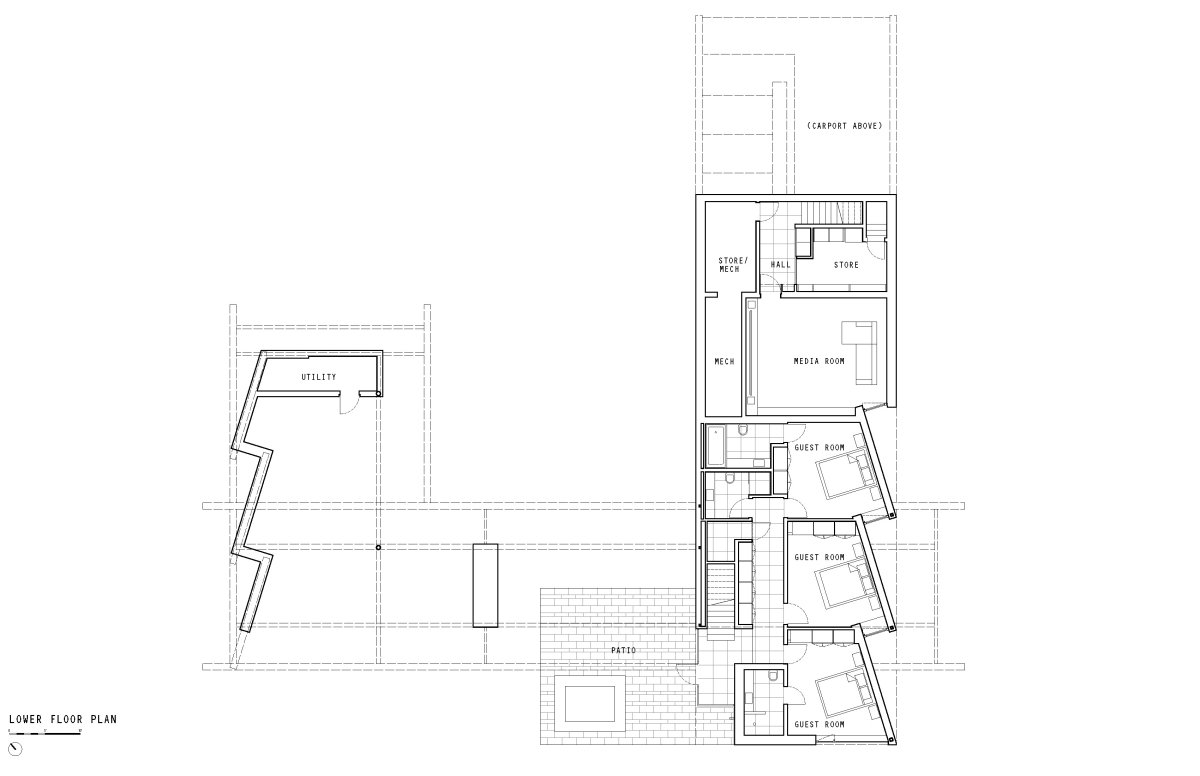 Lower Floor Plan, Oceanfront Home in British Columbia, Canada