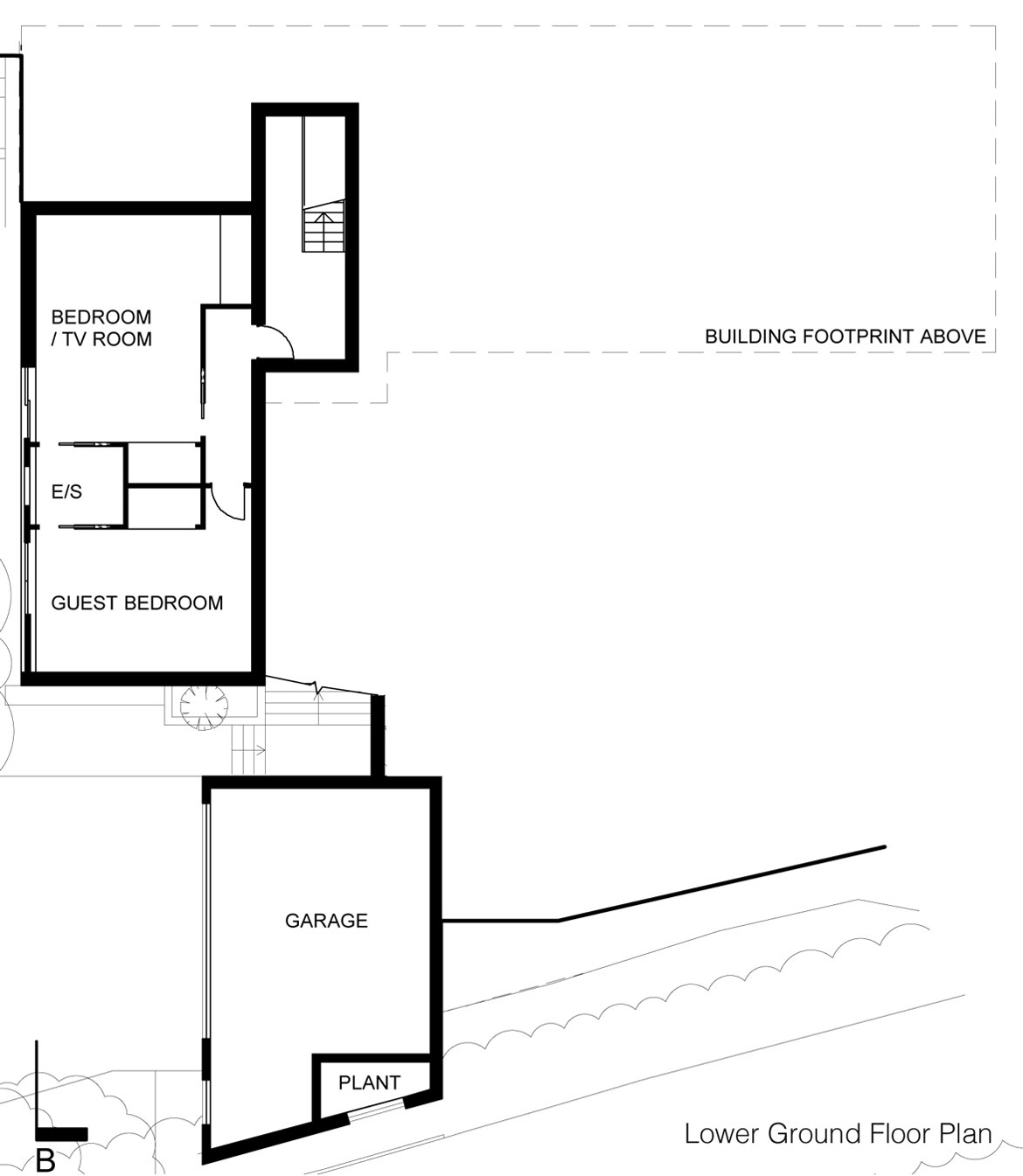 Lower Ground Floor Plan, Eco-Friendly Modern Home in Tandridge, England