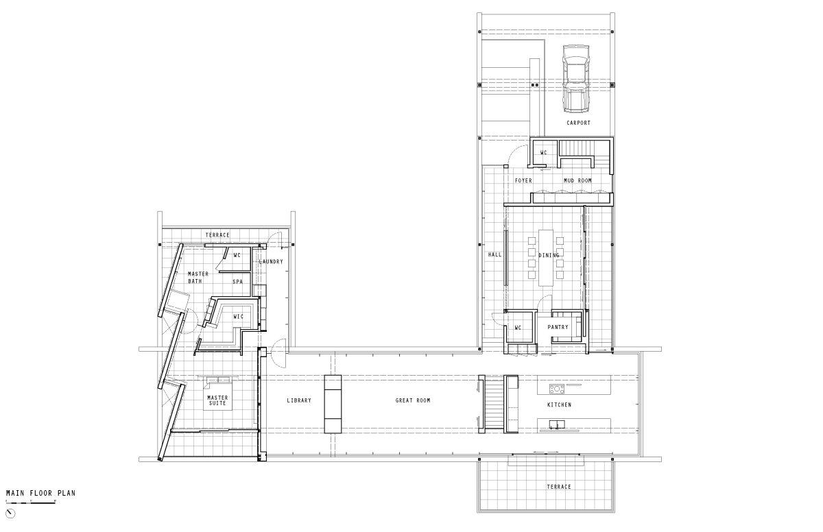 Main Floor Plan, Oceanfront Home in British Columbia, Canada