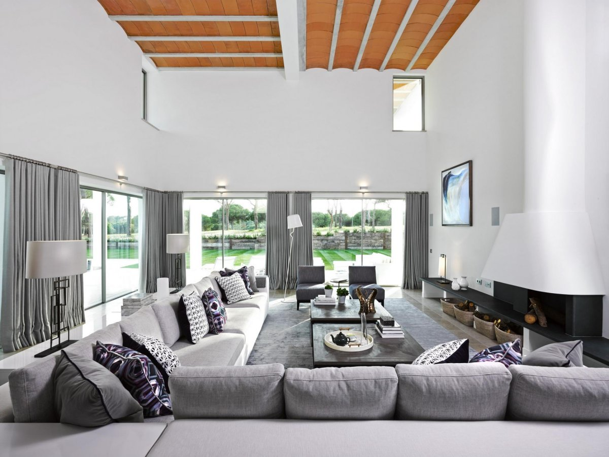 Modern Fireplace, Sofa, Coffee Table, Modern Home in Quinta do Lago, Portugal