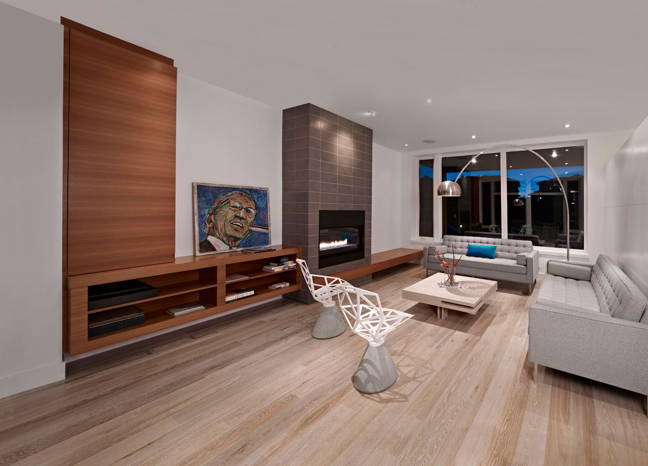 Modern Fireplace, Sofas, Lighting, Chairs, Contemporary Home in Edmonton, Canada