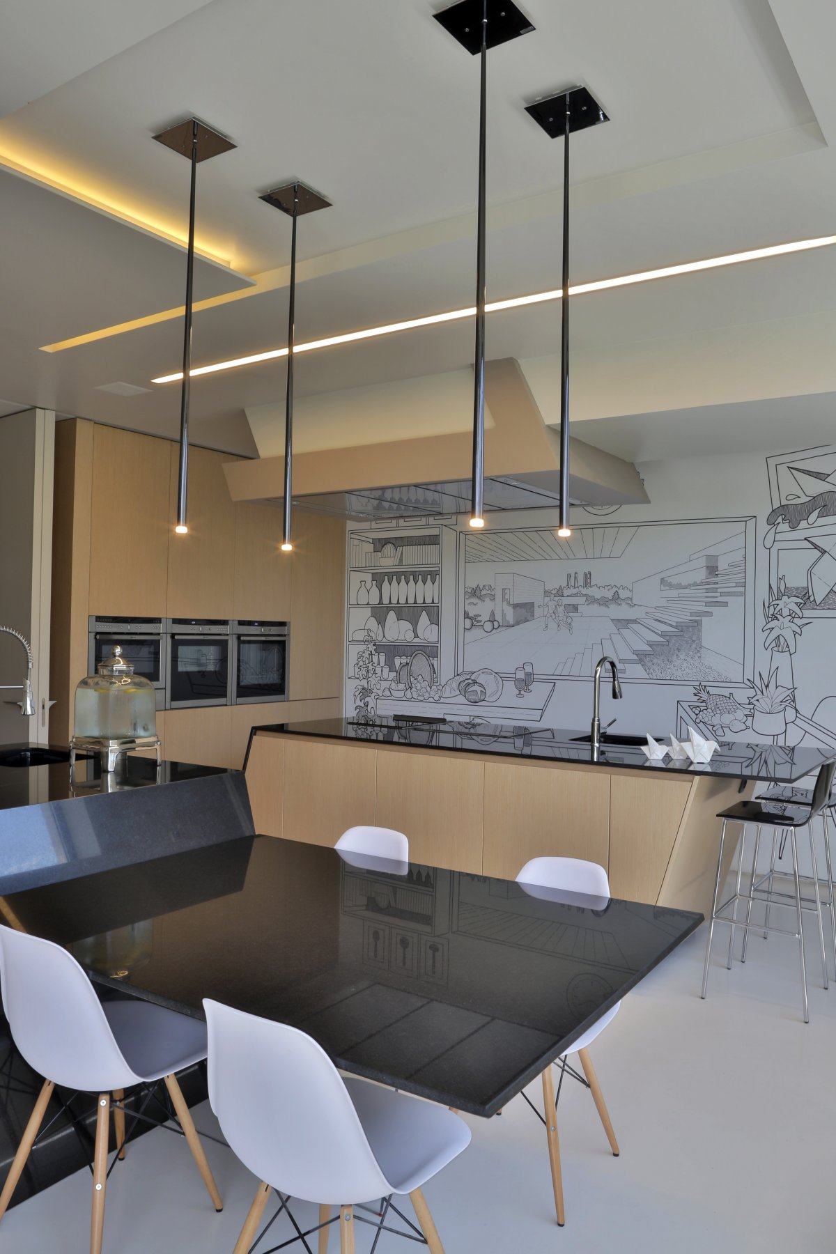 Modern Kitchen, Lighting, Breakfast Table, Futuristic Home in Madrid, Spain