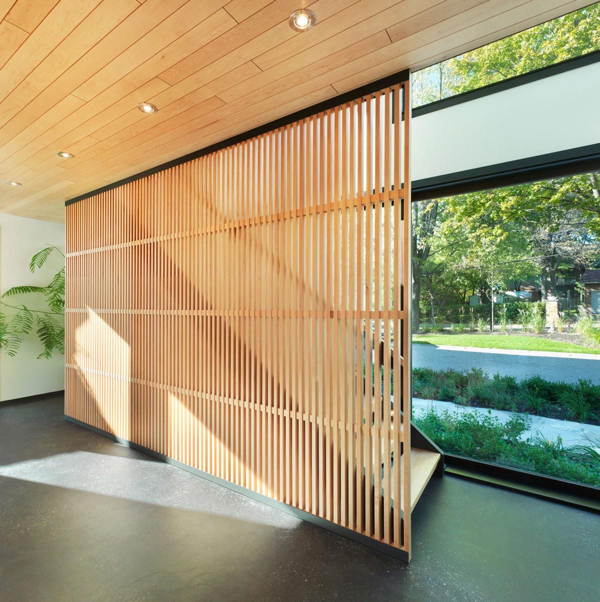 Modern Stairs, Glass Walls, Renovation and Addition in Dorval, Canada