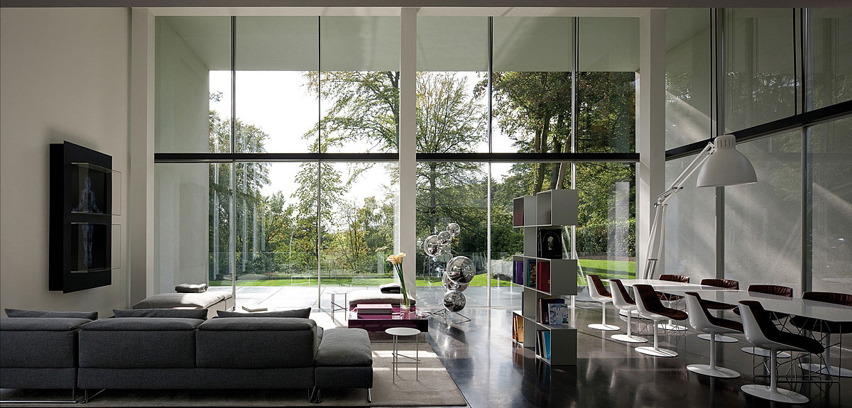 Open Plan Dining & Living, Sophisticated Glass Home in Belgium