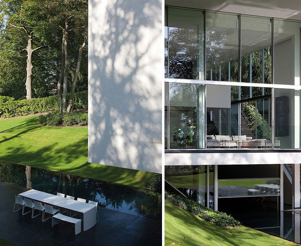 Outdoor Pool, Sophisticated Glass Home in Belgium