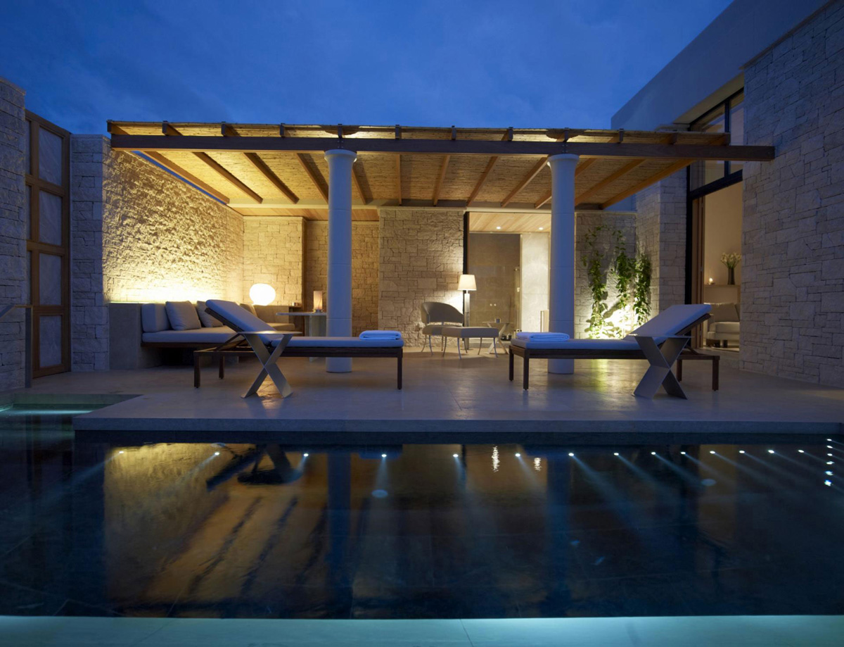 Outdoor Pool, Pergoda, Lighting, Elegant Villas in Kranidi, Greece