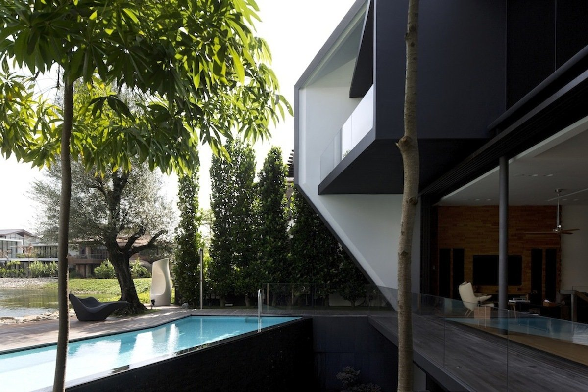 Outdoor Pool, Terrace, Lakeside Family Home in Singapore