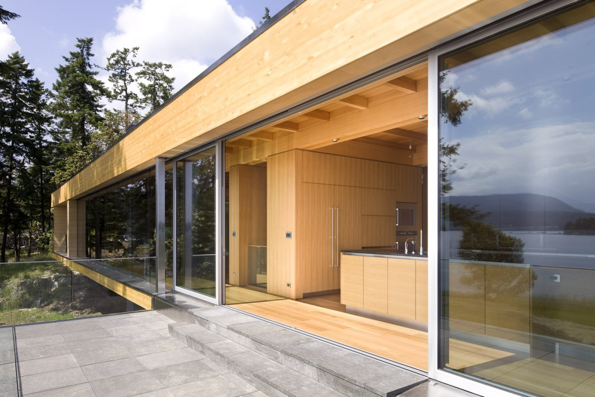 Patio Doors, Kitchen, Oceanfront Home in British Columbia, Canada