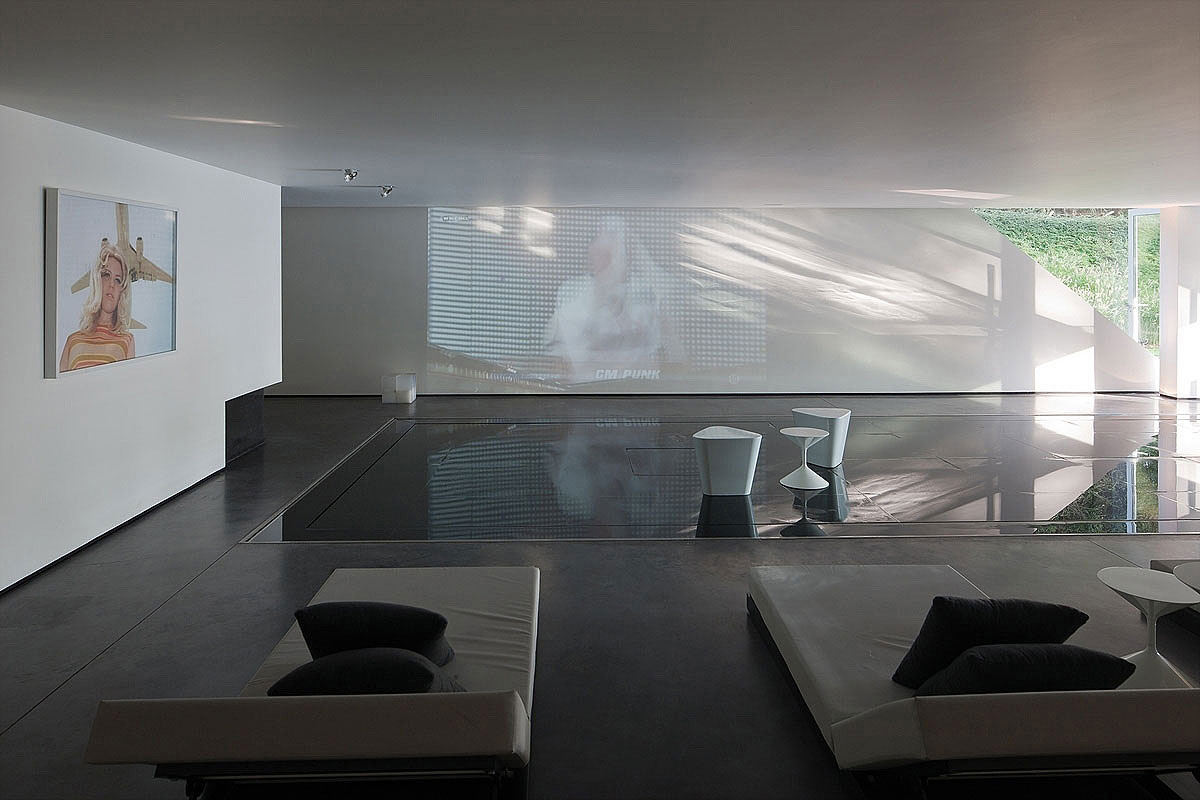 Hard Pool Cover, Home Theatre, Sophisticated Glass Home in Belgium