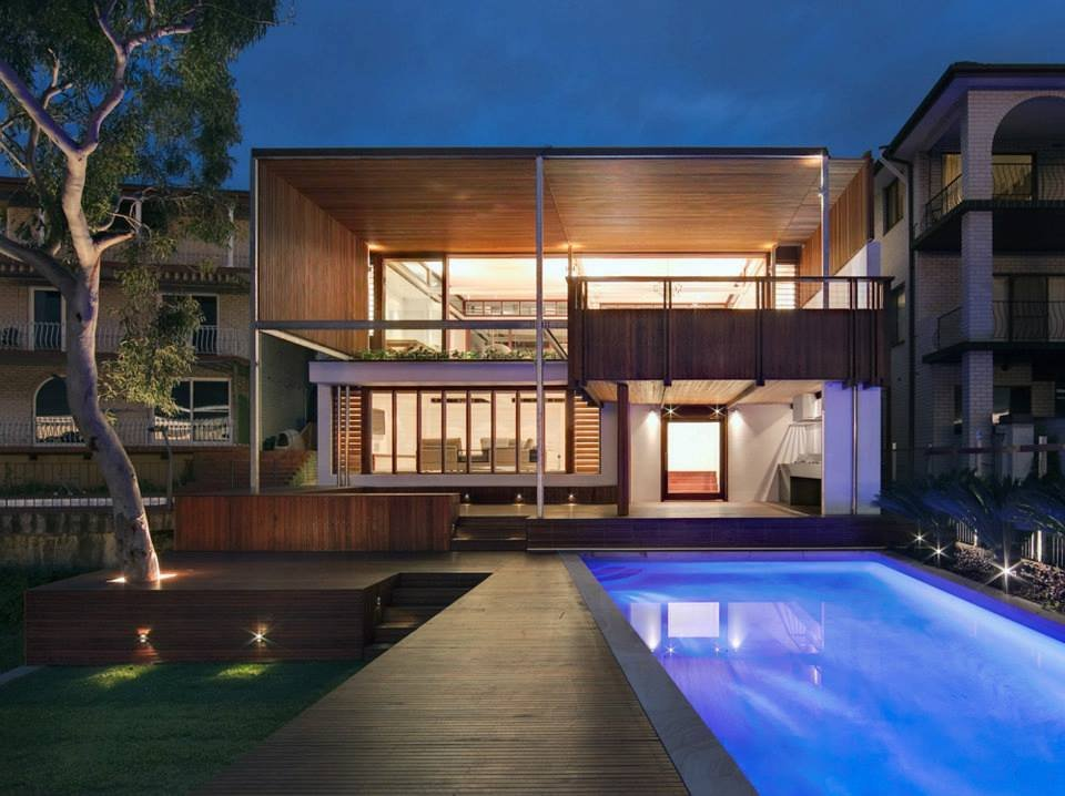 Pool Lighting, Modern Waterfront Home in Sydney, Australia