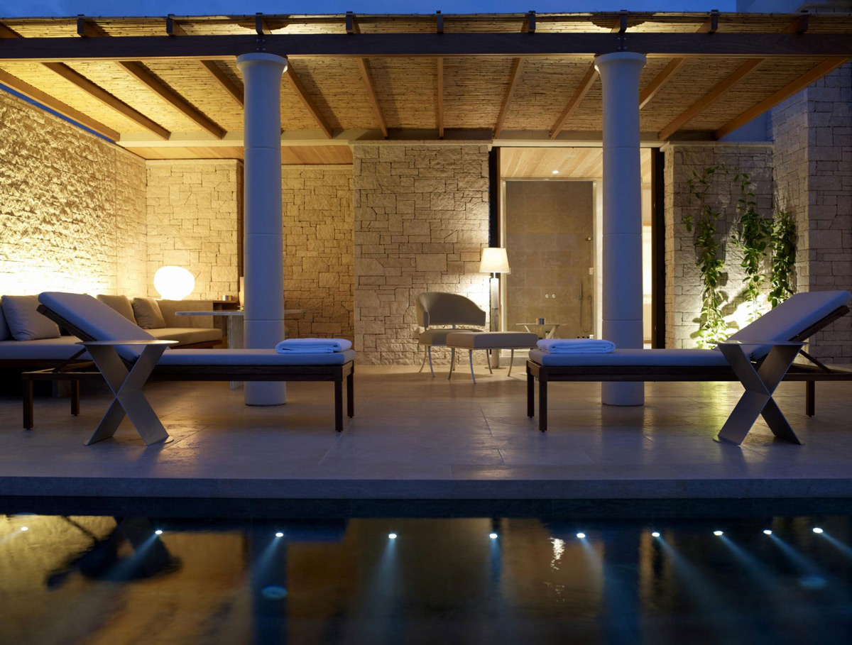 Pool, Lights, Stone Walls, Elegant Villas in Kranidi, Greece