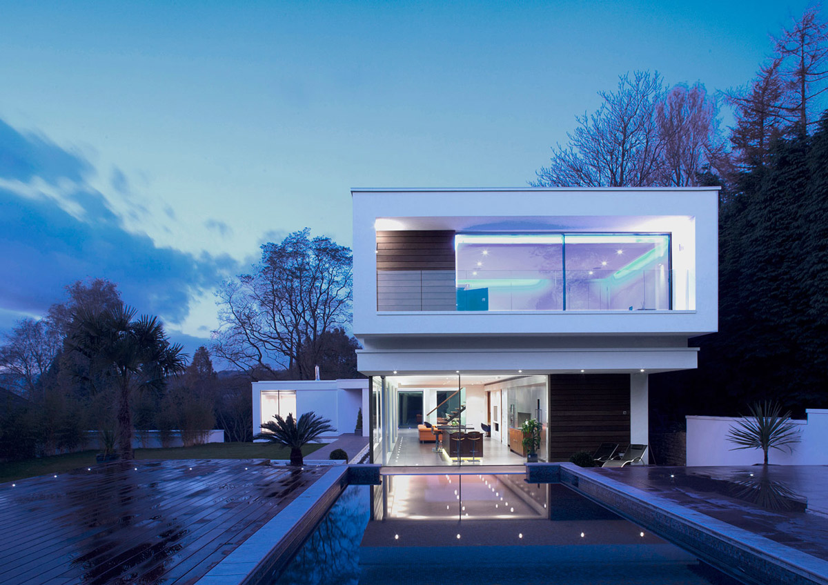 Pool, Terrace, Evening Lighting, Eco-Friendly Modern Home in Tandridge, England