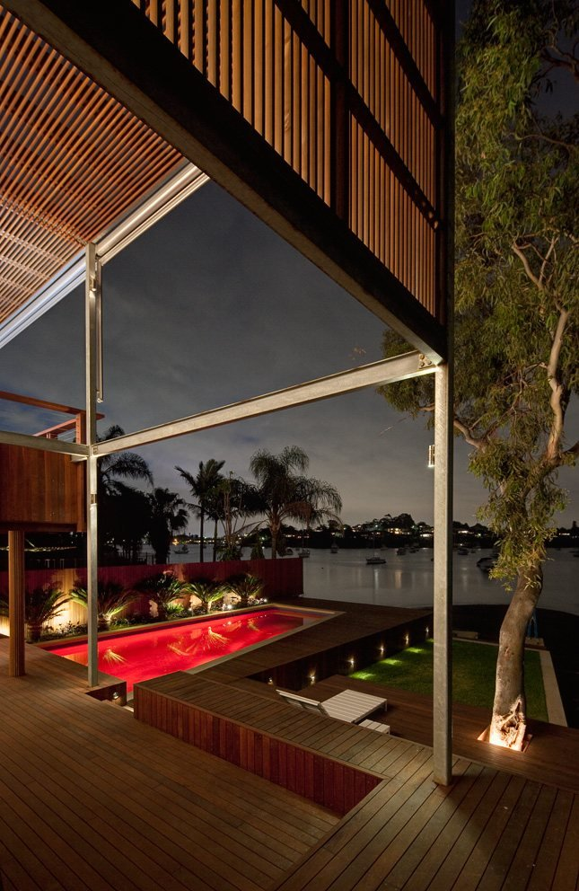 Red Pool Lighting, Deck, Water Views, Modern Waterfront Home in Sydney, Australia
