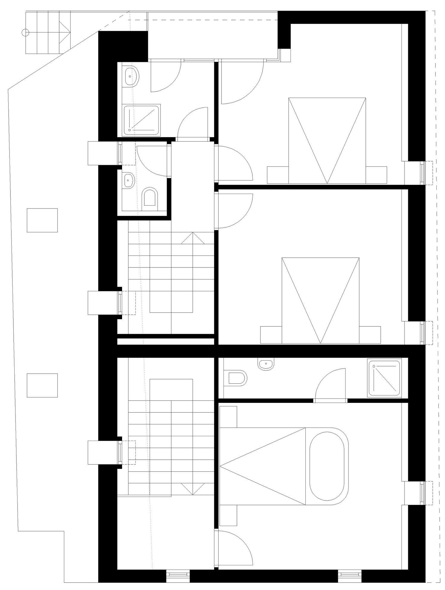 Second Floor Plan, Apartment House in Ybbsitz, Austria