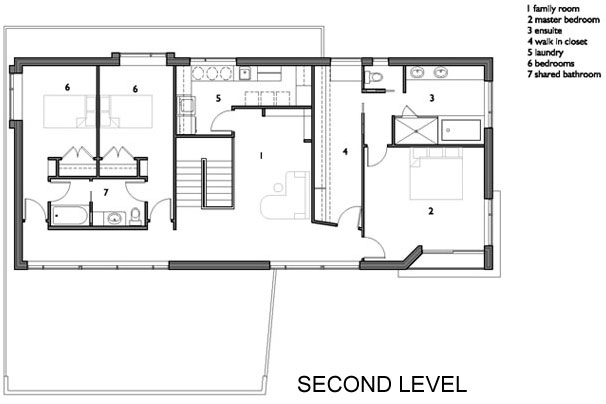 Second Floor Plan, Contemporary Home in Edmonton, Canada
