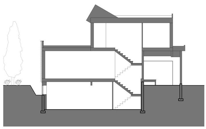 Section, Contemporary Home in Edmonton, Canada