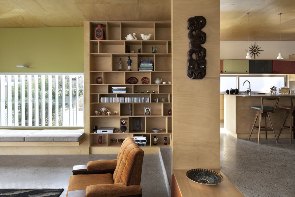Shelving, 1950-60s Inspired Home in Auckland, New Zealand