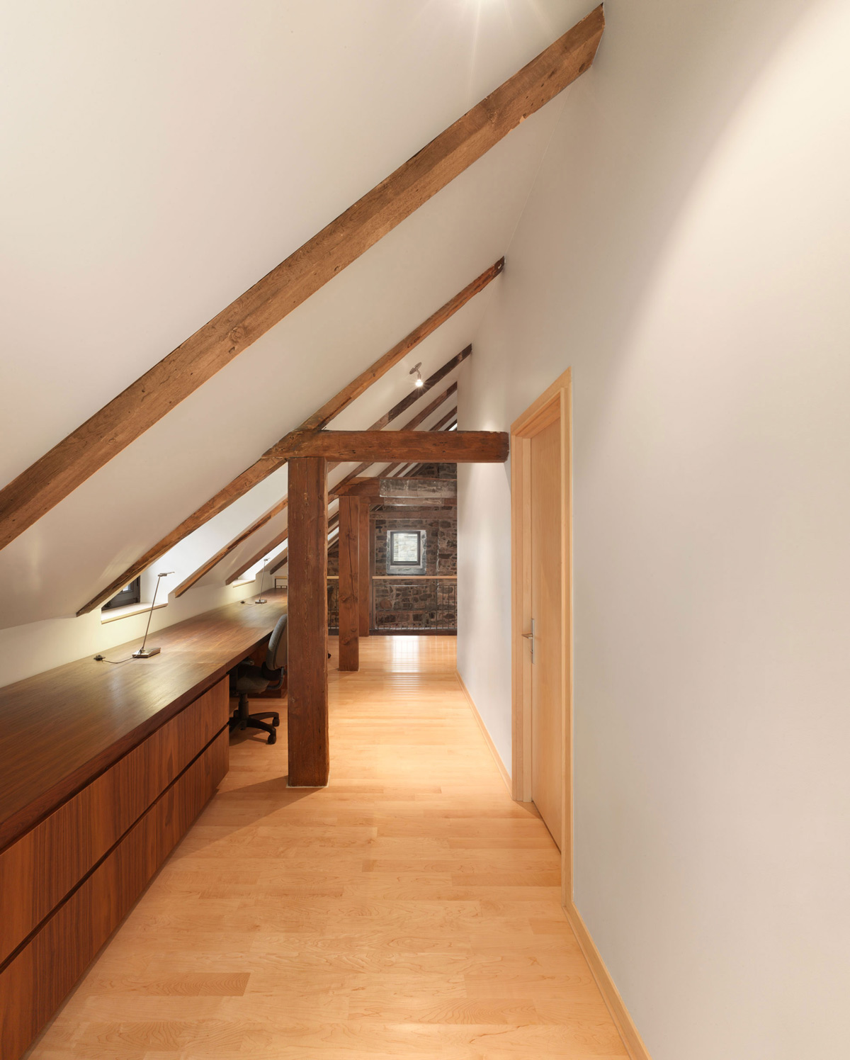 Sloping Ceiling, Hallway, Renovation and Addition in Dorval, Canada