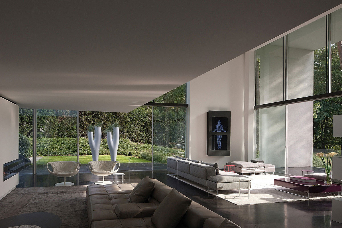Sofas, Chairs, Art, Sophisticated Glass Home in Belgium