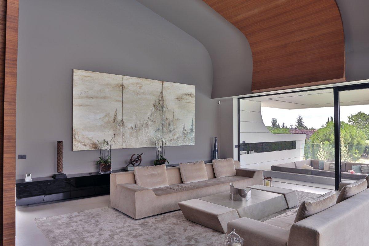 Sofas, Coffee Table, Futuristic Home in Madrid, Spain