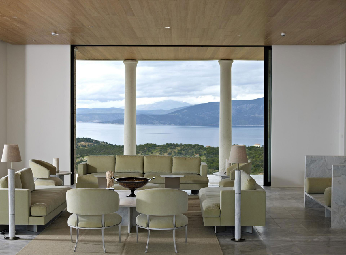 Sofas, Dining Table, Marble Tiles, Sea Views, Elegant Villas in Kranidi, Greece