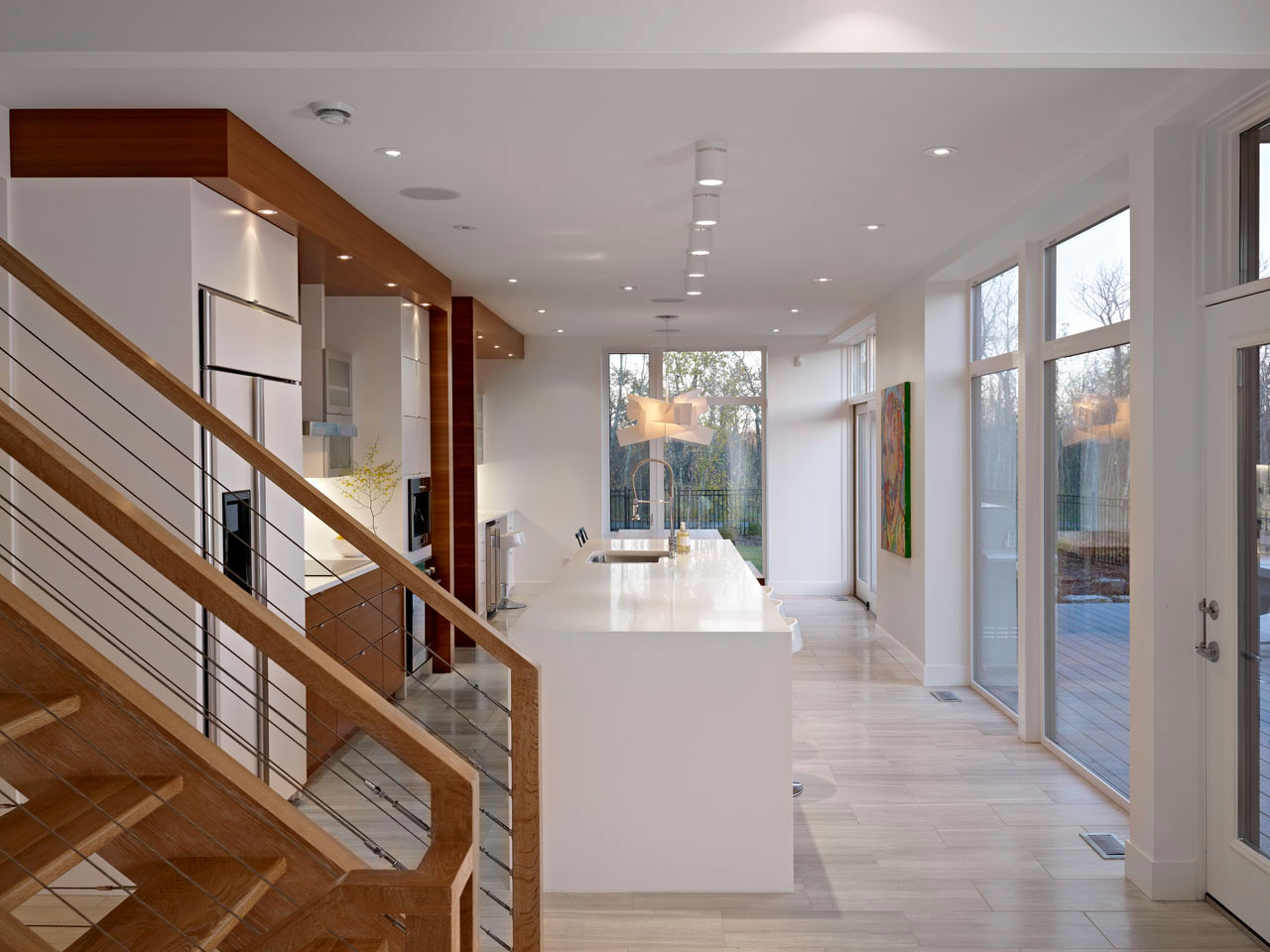 Stairs, Kitchen, Contemporary Home in Edmonton, Canada