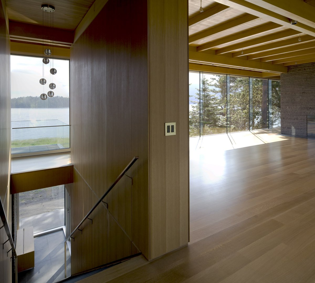 Stairs, Living Space, Oceanfront Home in British Columbia, Canada