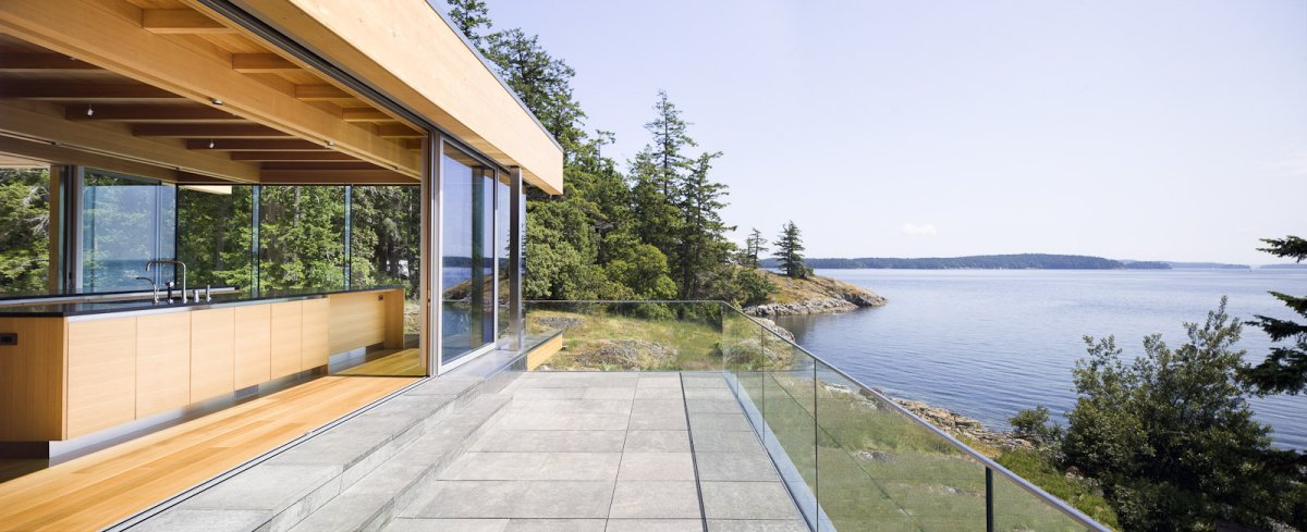 Terrace, Glass Balustrading, Water Views, Oceanfront Home in British Columbia, Canada