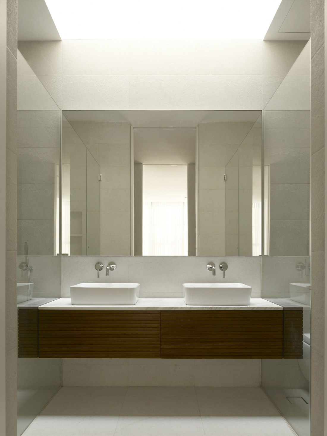 Twin Sinks Minimalist Contemporary Home In Singapore - Designer bathroom sinks singapore