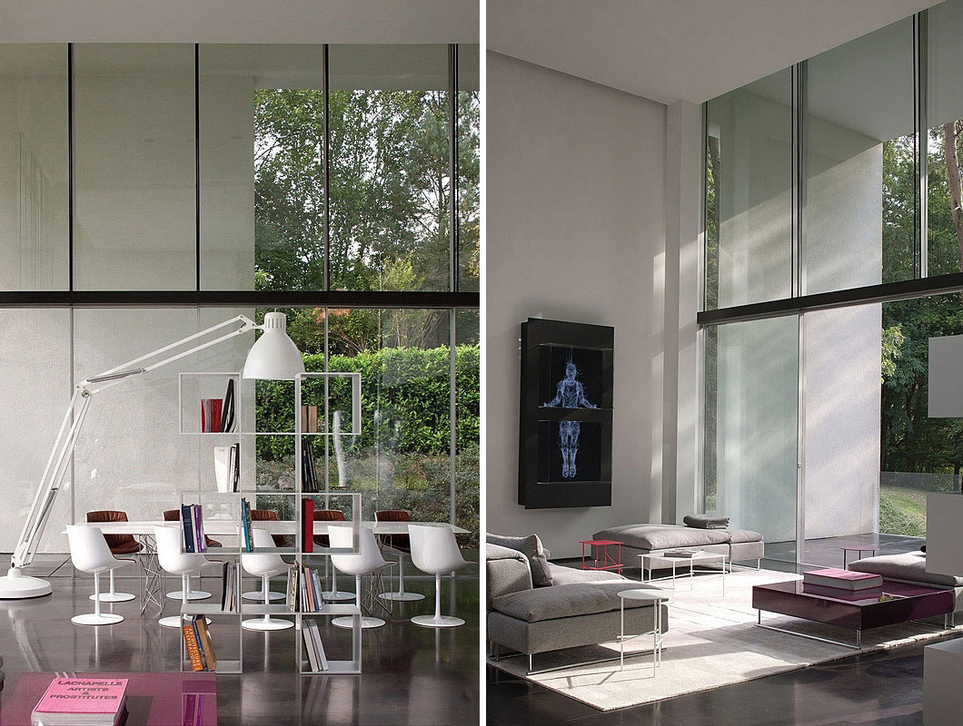White Dining Table, Sophisticated Glass Home in Belgium